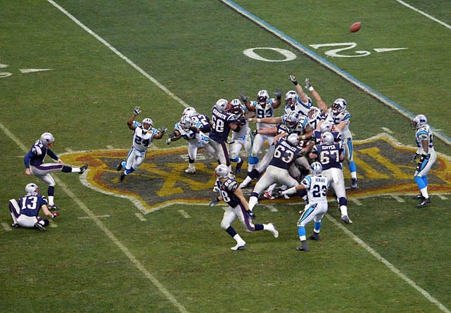 The Panthers lost a heartbreaker in Super Bowl XXXVIII, but shocked the nation by showing up in the Super Bowl one year after going 1-15. Jake Delhomme played a fabulous game, but Carolina could not overcome a last-second field goal by Adam Vinatieri.