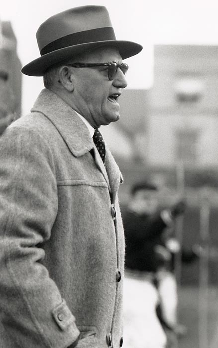 "Under legendary coach George Halas, the Bears positively annihilate the Washington Redskins 73-0 in the 1940 NFL Championship game. Halas had some help from bulletin board material from Redskins' owner George Preston Marshall, who called the Bears ""quitters and crybabies"" before the game."