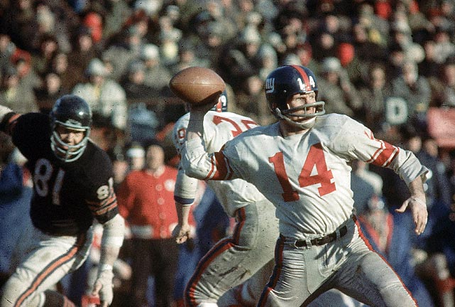 Bears derail New York Giants' high-flying offense with five turnovers as anemic Bears offense (144 total yards) scores just enough for a 14-10 win in the sixth and final NFL title of coach George Halas' illustrious career.