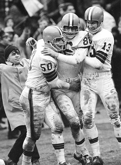 Browns stun the favored Colts 27-0 for the NFL championship as quarterback Frank Ryan throws three second-half TD passes to wide receiver Gary Collins. Jim Brown runs for 114 yards in winning his lone NFL title.