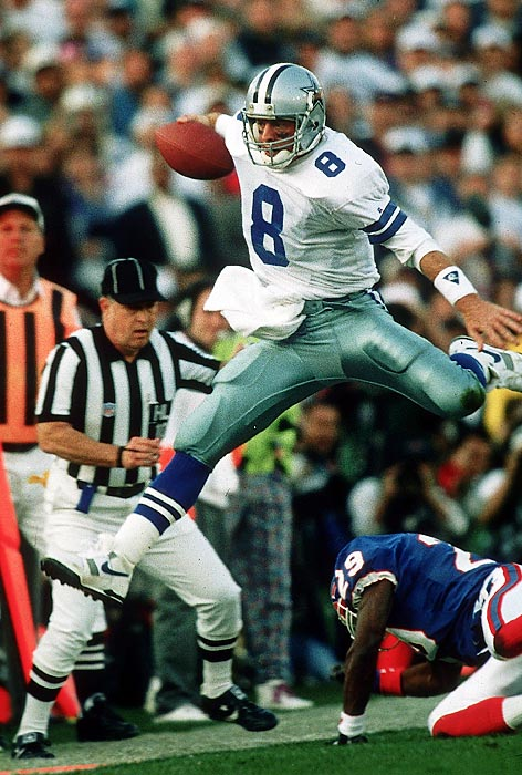 The Cowboys kick off their dominance of the early 1990s with a 52-17 rout of Buffalo in Super Bowl XXVII as MVP Troy Aikman throws for 273 yards and four TDs. Dallas defense forces a Super Bowl-record nine turnovers in the first of three Cowboys world championships in four seasons.
