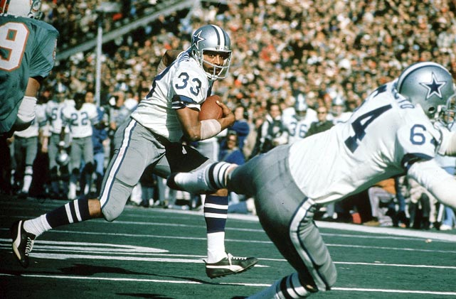Dallas ends seasons of frustration by finally winning its first championship with a 24-3 battering of Miami in Super Bowl in VI. Behind enigmatic running back Duane Thomas, Cowboys rush for 252 yards.