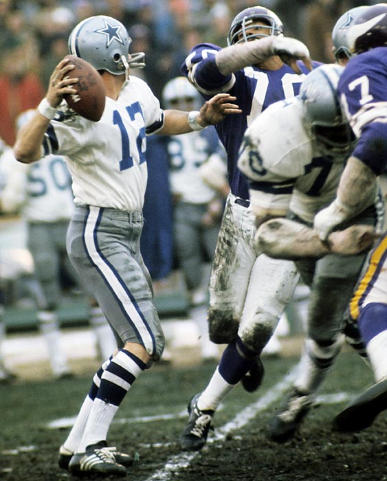 "Trailing the Vikings in a 1975 divisional round playoff game with one play left to save the season, Roger Staubach heaves a desperation pass that is hauled in by receiver Drew Pearson. In the postgame interview, Staubach states ""I closed my eyes and said a Hail Mary"