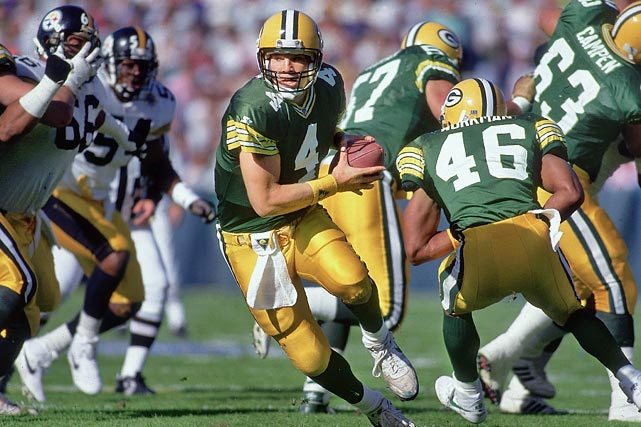 Brett Favre takes over for injured starting quarterback Don Majkowski after Majkowski tears ligaments in his ankle. Favre fumbles the ball four times, but drives the Packers 92 yards in the final 1:08, concluding it with a 35-yard strike to Kitrick Taylor to beat Pittsburgh 24-23. Favre would start every Packers' game from then until Jan. 20, 2008, and would win a Super Bowl in the 1995-96 season.