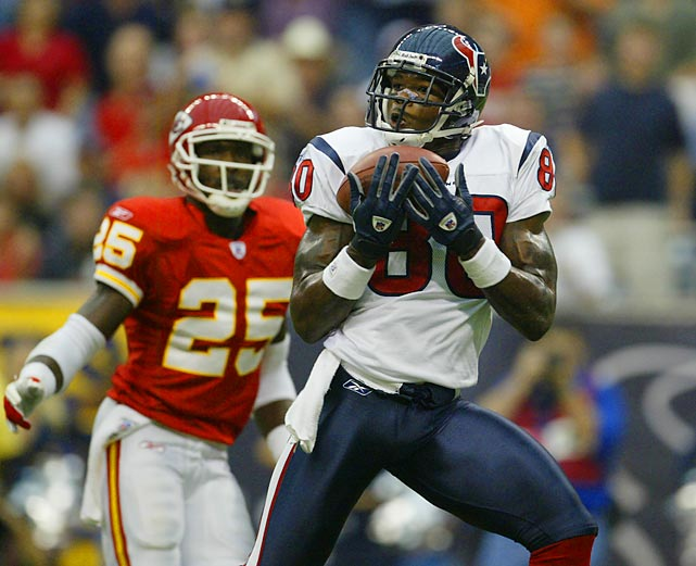 The Texans draft Andre Johnson with the third overall pick in the 2003 NFL Draft. Johnson is now in his 10th NFL season and is a five-time Pro Bowler, two-time First-Team All-Pro and easily the best receiver in Texans' history. The two other wide receivers drafted in the first round -- Charles Rogers (second overall) and Bryan Johnson (17th) -- were two significant draft busts.