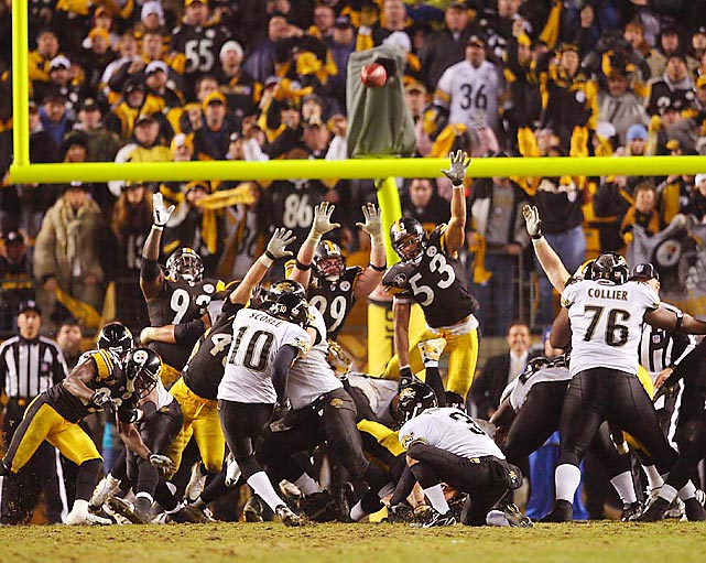 Facing a 4th and 2 from the Pittsburgh 43 and down 29-28 with 1:56 remaining, David Garrard took a draw right at the Pittsburgh defense and hustled 32 yards all the way to the Pittsburgh 11. Josh Scobee hit a 25-yard field goal three plays later to clinch the AFC Wild Card win over the Steelers.