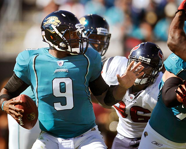 David Garrard and the Jaguars had one more play in a 24-24 tie against the Houston Texans before going to overtime. Garrard heaved up a prayer from around midfield that was batted down by Houston's Glover Quin... but right into the hands of Jags' receiver Mike Thomas. The miraculous Hail Mary gave the Jags the win and was announced by none other than Gus Johnson.