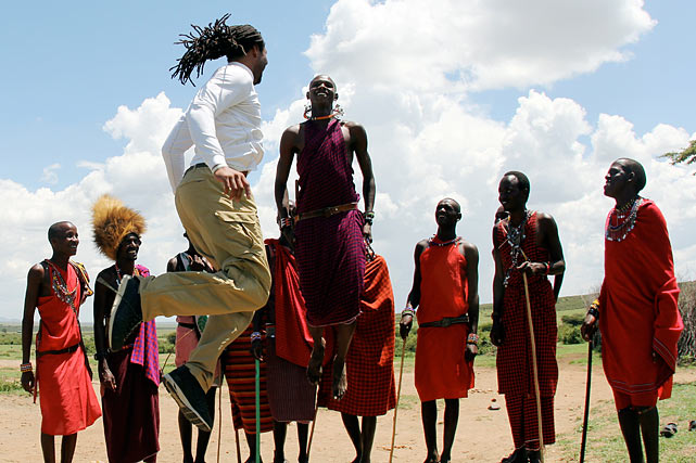 The Maasai children asked if I played basketball and their elder statesman, who spoke English, translated `No.' They then challenged me to a jumping competition and I accepted. The elder told me that in ancient times the highest jumper would get to pick the most eligible women in the village to marry.