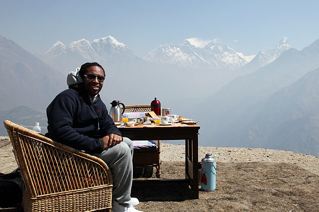 Just having lunch on a perch, looking towards Mount Everest.