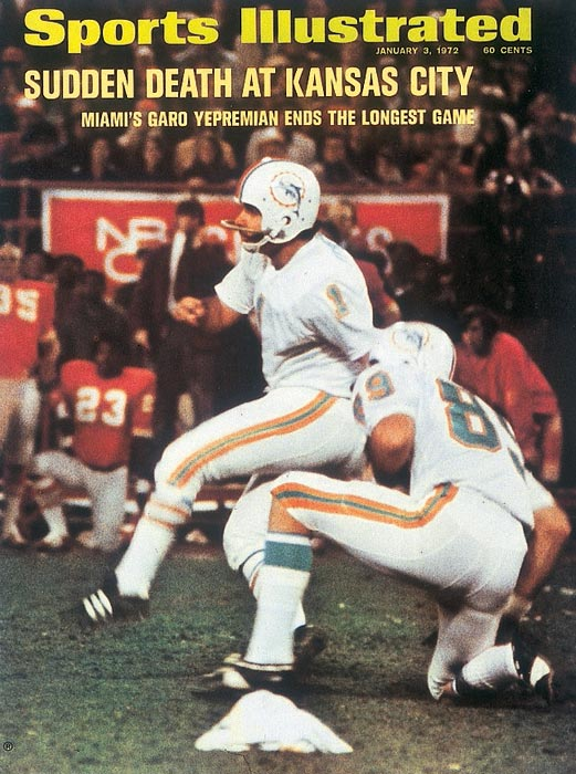 Garo Yepremian's 37-yard field goal in the second overtime ended the longest game in pro football history and gave the Dolphins a 27-24 Christmas Day win over the Chiefs in Kansas City in an AFC semifinal playoff game that lasted 82 minutes and 40 seconds. This was Miami's first postseason win in franchise history.