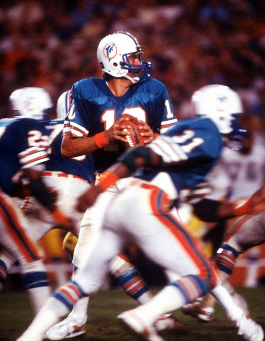 Backup quarterback Don Strock comes off the bench in relief of starter David Woodley at the Orange Bowl and leads the Dolphins back from a 24-0 deficit against the Chargers in the highest-scoring playoff game in NFL history. Strock passes for 403 yards and four touchdowns. Unfortunately, Rolf Benirschke's 29-yard field goal in overtime gives San Diego a 41-38 victory.