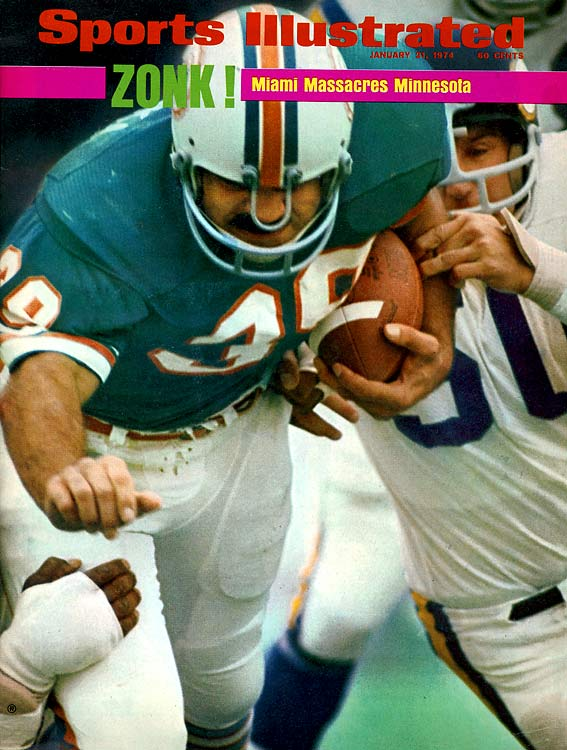 The Dolphins steamroll the Vikings 24-7 for their second straight Super Bowl championship as Larry Csonka rushes for 145 yards and two TDs. So dominant is Miami's rushing game (196 yards) that Bob Griese only has to throw seven passes -- he completes six. Miami won its three playoff games by an average of 17 points.