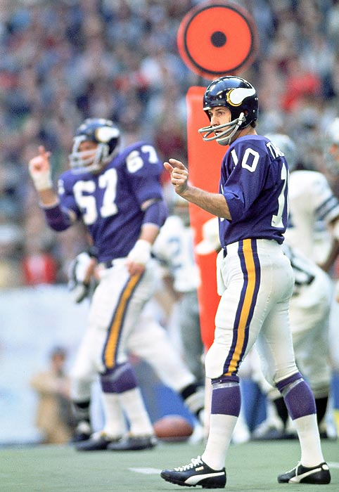 The Vikings hand the Cowboys their first playoff defeat at Texas Stadium and win the NFC title game 27-10 as Fran Tarkenton throws a 54-yard TD pass to John Gilliam and Minnesota runners gash the Dallas Doomsday defense for 206 yards rushing. The Vikings defense forces six turnovers.