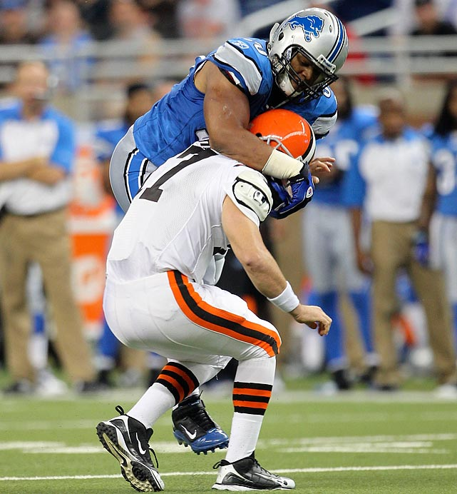 Before he even played his first official snap, Suh announced himself as a ferocious, if not dirty player. In an exhibition game against the Cleveland Browns in August 2010, Suh charged through the defensive line and yanked quarterback Jake Delhomme's facemask before tightening his grip and throwing Delhomme down by his head. Suh was fined $7,500 for the hit.