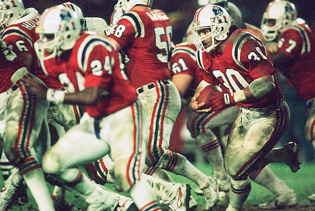 """Losers of 18 consecutive games at the Orange Bowl dating to 1966, the Patriots were trying to end the """"Miami Jinx"""" heading into the AFC Championship Game. They did so in a big way, turning six Dolphins turnovers into 24 points as quarterback Tony Eason threw for three touchdowns and running back Craig James eclipsed the century mark to earn the Patriots their first trip to the Super Bowl."""