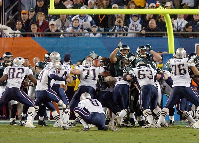 Facing off against the formidable Eagles in Super Bowl XXXIX, the Patriots made their third championship game appearance in four seasons. In true Patriot form, the game came down to the final minutes and an Adam Vinatieri field goal ended up the difference as New England hung on for its second title in a row, 24-21.