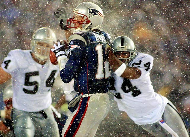 """In the infamous """"Tuck Rule"""" game against the Raiders, a Tom Brady fumble was ruled an incompletion upon review and kicker Adam Vinatieri hit a 45-yard field goal late in the fourth quarter through blinding snow to force overtime. Vinatieri would connect on a 23-yarder in the extra period and the Patriots sent old Foxboro Stadium off with a win, and rode to the AFC Championship Game, and eventually their first Super Bowl win."""