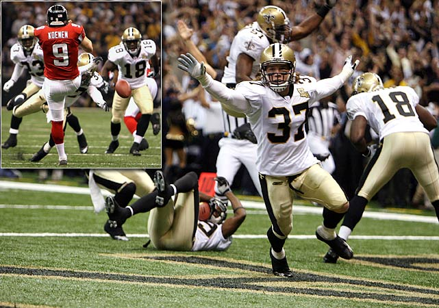 In the first game at the Superdome since it was refurbished after being a shelter in the aftermath of Hurricane Katrina the year before, Steve Gleason blocks a punt into the end zone for a Saints touchdown that ignites a 23-3 victory over Atlanta. The play, later immortalized by a 9-foot statue outside the stadium, symbolizes New Orleans' resilience to bounce back after tragedy.