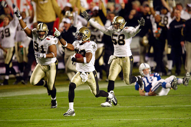 Cornerback Tracy Porter picks off a Peyton Manning pass and returns it 74 yards for a touchdown, closing out a 31-17 victory over the Colts in Super Bowl 44 in Miami. A surprise onside kick and recovery by Chris Reis to open the second half launches the Saints' comeback from a 16-10 deficit.