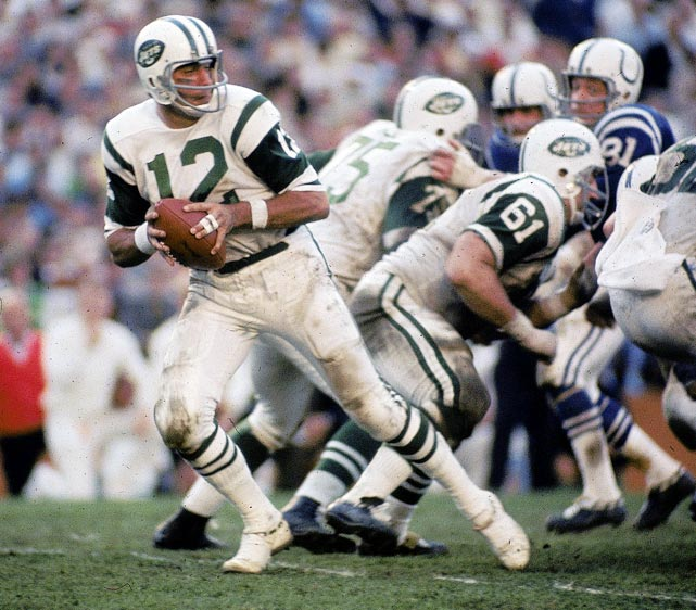 In one of the most famous games in sports history, quarterback Joe Namath, running back Matt Snell and an opportunistic defense lead the Jets to a 16-7 upset over the heavily favored Baltimore Colts in Super Bowl III. Namath throws for 206 yards, Snell rushes for 121 and the Jets force five Colts turnovers as the 8-year-old American Football League gains instant credibility.