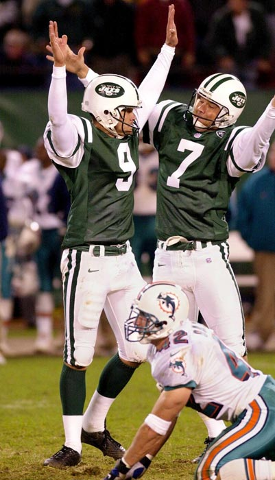 Thousands of fans who departed Giants Stadium and millions more who clicked off their TVs miss the greatest comeback in Jets history as New York rallies from a 30-7 fourth-quarter deficit to tie Miami and then win in overtime 40-37 on John Hall's 40-yard field goal. Vinny Testaverde throws five TD passes, including the tying score to a diving Jumbo Elliott on a tackle eligible play.