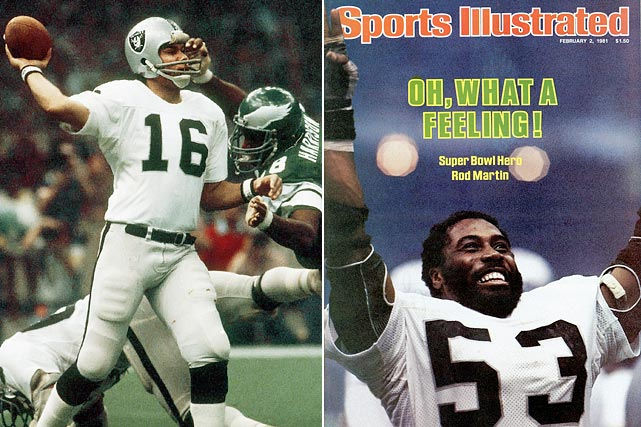 Jim Plunkett, given up for washed up only a season earlier, throws for 261 yards and three TDs, and linebacker Rod Martin registers a Super Bowl-record three interceptions as the Raiders pound the favored Eagles 27-10. Oakland becomes the first wild-card team since the 1970 merger to win the Super Bowl.