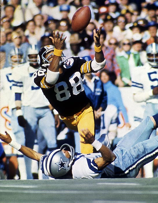 One can't think of the Steelers without conjuring up Lynn Swann making unbelievable, leaping catches. The most memorable came against Dallas in Super Bowl X, eventually leading to the second consecutive championship. He would retire in 1982, but not before making many more circus receptions from Terry Bradshaw and snatching a total of four Super Bowl rings in the process.
