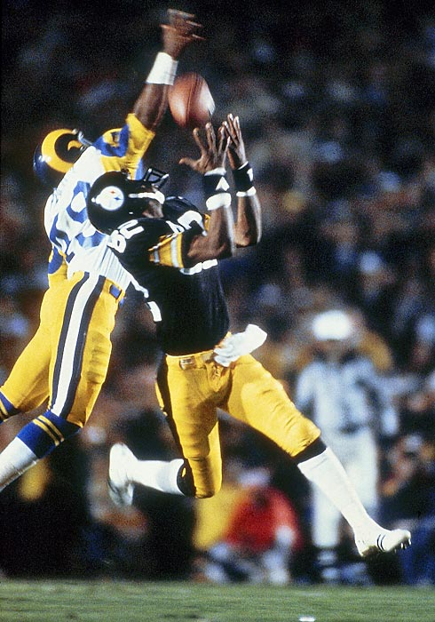 Terry Bradshaw's two long fourth-quarter passes to John Stallworth, the first covering 73 yards for a TD, rally Pittsburgh to a 31-19 win over the L.A. Rams in a game that featured seven lead changes. Steelers become the first--and so far only franchise--to win four Super Bowls in a six-year period.