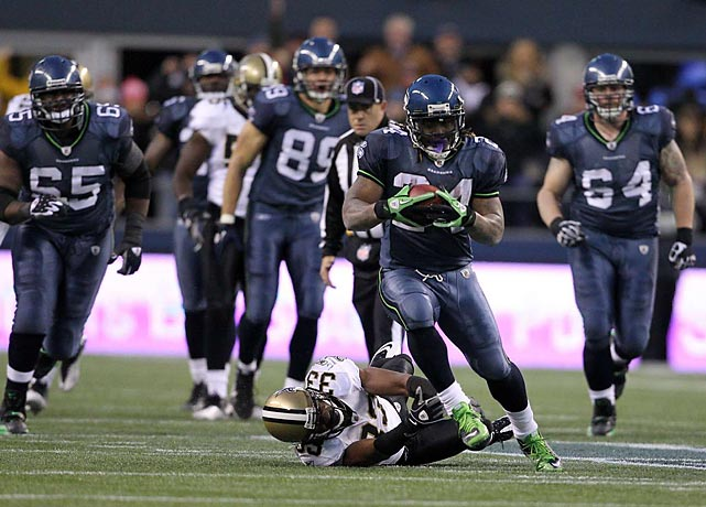 "At 7-9, the Seahawks were the NFL's first-ever division winner and playoff team with a sub-.500 record, and they were hosting the defending Super Bowl champion Saints. On second-and-10, Marshawn Lynch flipped the switch to ""Beast Mode"" and took a handoff, spectacularly storming 67 yards down the field late in the fourth quarter. He would break seven tackles on his way to the end zone, and Seattle's esteemed 12th Man created seismic activity of about a 1 or 2 magnitude earthquake on the Richter Scale during the run, and the Seahawks went on to the unexpected 41-36 win."