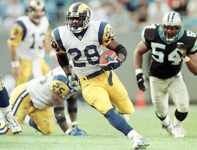 "The Rams trade second- and fifth-round draft picks to Indianapolis for running back Marshall Faulk, who becomes a prime member of ""The Greatest Show on Turf"" (along with other cast members Kurt Warner, Isaac Bruce and Torry Holt). Faulk and Co. help lead St. Louis to a combined 37-11 record and two Super Bowl appearances from 1999 to 2001."