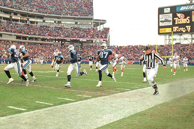 "With only 16 seconds left and the Tennessee Titans trailing Buffalo in a wild-card playoff game in Nashville, Frank Wychek fielded a kickoff and threw an across-the-field lateral to Kevin Dyson, who ran 75 yards for a touchdown, giving Tennessee a 22-16 victory and its first playoff win as the Titans. The play was instantly christened as ""The Music City Miracle."""