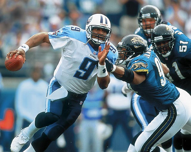 The Titans defeated Jacksonville 33-14 for the AFC championship and qualifyed for their first--and so far--only Super Bowl. Quarterback Steve McNair passed for 112 yards and a TD and ran for 91 yards and two more TDs. Derrick Mason broke the game open with an 80-yard kickoff return for a TD.