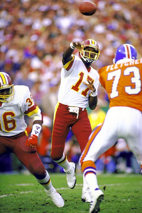 The Redskins explode for a Super Bowl-record 35 second-quarter points to overcome an early 10-point deficit and rout the Denver Broncos 42-10. Super Bowl MVP Doug Williams throws for four TD passes and 340 yards in becoming the first black quarterback to win an NFL championship.