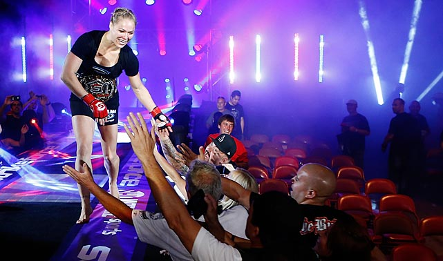 Ronda Rousey reacts after defeating Sarah Kaufman by submission during the Strikeforce event in San Deigo on Aug. 18.