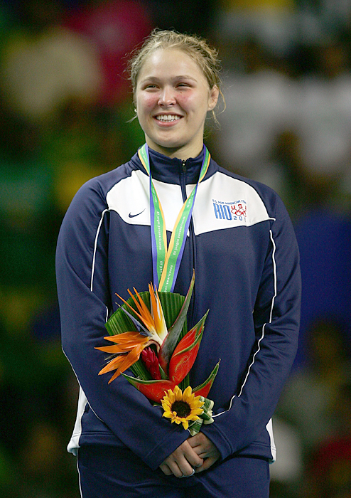 A happy Ronda Rousey after she won the 70Kg Judo final in the 2007 XV Pan American Games in Rio de Janeiro.