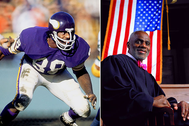 """A member of the famed """"Purple People Eaters"""" in the 1970s, Page laid the groundwork for his post-NFL career even before he retired. While with the Vikings, Page attended University of Minnesota Law School, and in 1992 he was named Associated Justice of the Minnesota Supreme Court. He is currently a Minnesota Supreme Court Justice, winning re-electing in 98, 2004 and 2010. He will turn 70, the mandatory retirement age, in three years."""