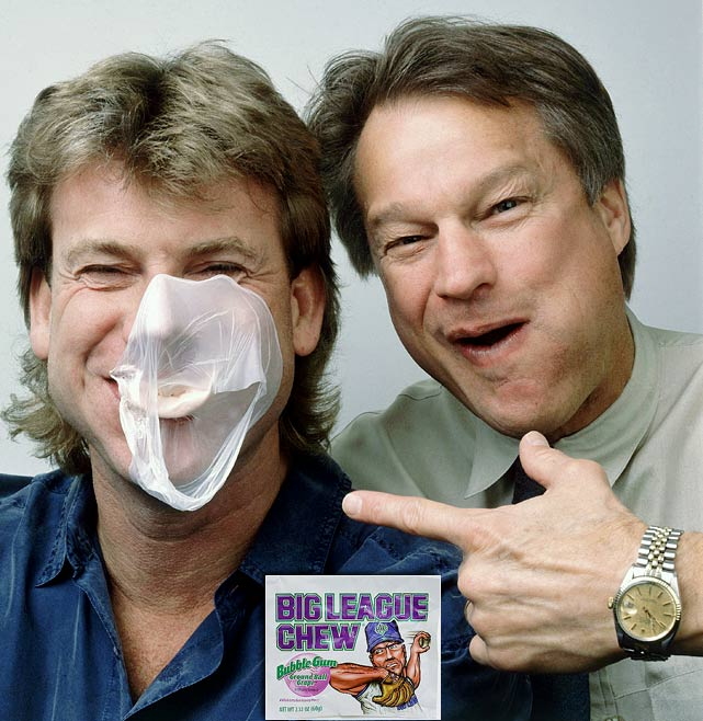 The former Yankees hurler (right), who turned baseball upside down with his 1970 tell-all book  Ball Four , created Big League Chew bubblegum with former Class A teammate Rob Nelson (left) in 1977 as a safer alternative to chewing tobacco. Bouton designed a tobacco-type pouch and Nelson cooked up the glycerine-softened gum, which was then shredded. With Bouton providing the seed money and business direction, the gum was developed, promoted and eventually picked up by a novelty company in Illinois. Big League Chew made its national debut in 1980 and sold $18 million worth in its first year. In 2001, Nelson bought out Bouton's share of the business.