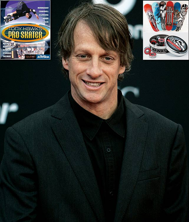 """Easily the most famous skateboarder in the world, Hawk is likely better known in the sports business world for his work off the ramp. He teamed up with Activision to create the ultra successful """"Tony Hawk Pro Skater"""" video game series, a game that has had 15 spinoffs and is the No.1 rated action-sports video franchise of all time. Hawk is also the creator and owner of Birdhouse, one of the biggest skateboarding companies in the world."""