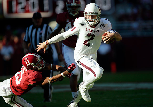 In early November, few thought that undefeated SEC powerhouse Alabama could be stopped. But then the Crimson Tide met Johnny Manziel. The Aggies freshman quarterback threw for 253 yards and two touchdowns, en route to a 29-24 upset win that helped him win the Heisman Trophy.