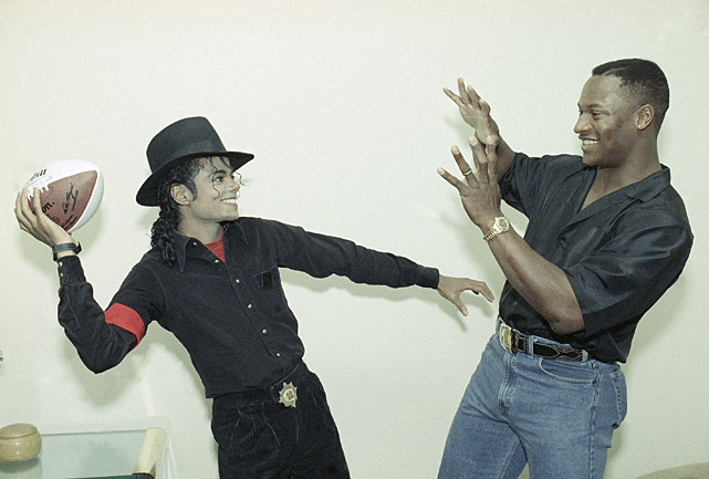 Jackson stopped by Michael Jackson's Los Angeles recording studio for a visit and gave the King of Pop an autographed football and baseball.