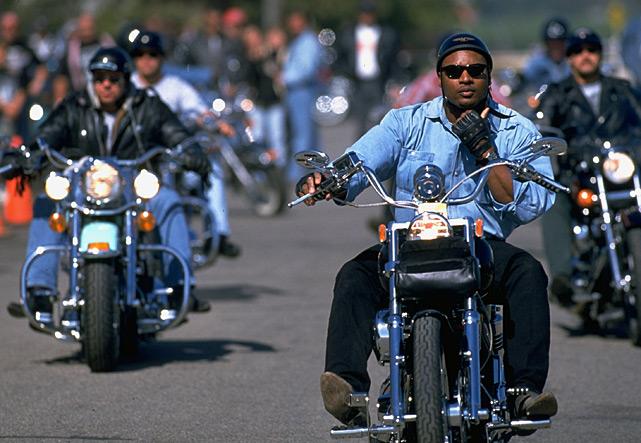 Jackson rides a Harley-Davidson motorcycle.