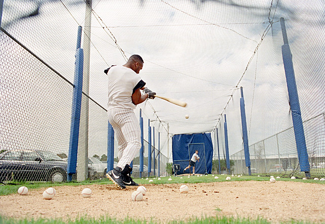 Jackson takes batting practice during spring training. Jackson ended up missing the entire 1992 season because of a hip injury.