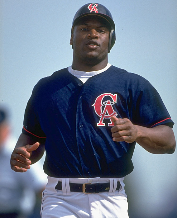 Jackson runs during spring training with the Angels. In what would be his final MLB season, Jackson had a career-high .279 average in the 1994 season.