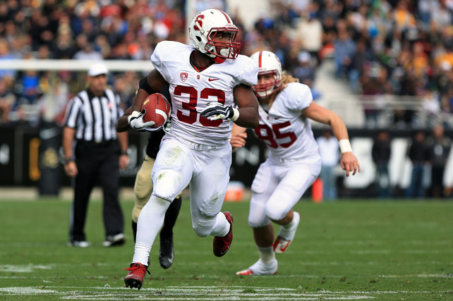Stanford may have found its new starting quarterback. After announcing that the Kevin Hogan would split snaps with Josh Nunes earlier in the week, coach David Shaw watched as Hogan picked apart the Colorado defense for 184 yards and two touchdowns. Stepfan Taylor (pictured) added two rushing scores, and Stanford's defense also shined. In addition to shutting out the Buffaloes, the Cardinal unit opened the scoring with a 52-yard Ed Reynolds pick-six.