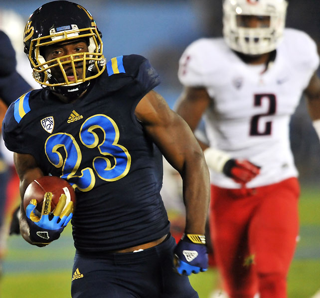The same Arizona team that upset USC last Saturday failed to generate any offense against UCLA, managing just 257 yards a week after amassing 588. Johnathan Franklin (pictured) and the Bruins had no such issues, totaling 611 net yards while displaying impeccable balance: UCLA posted 308 net rushing yards and 303 net passing yards.
