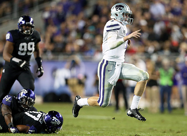 It may not have been Kansas State's prettiest win of the year, but on a night when top-ranked Alabama lost, the Wildcats kept their unbeaten season alive. Heisman frontrunner Collin Klein (pictured) quelled injury concerns by accumulating 195 total yards and two touchdowns, and the K-State defense held TCU scoreless until midway through the fourth quarter. Only two games stand between Bill Snyder's team and perfection: a matchup at Baylor next Saturday and a meeting with Texas Dec. 1.