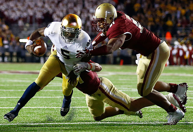 A week after struggling against an inferior Pitt team, Notre Dame took care of business against an inferior Boston College team. Everett Golson (pictured) threw for two touchdowns and ran for another, while the Irish held the Eagles to two field goals on 304 net yards.