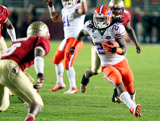 Florida State carried a 20-13 lead into the fourth quarter, but the Gators exited Tallahassee with a win. Florida rattled off 24 unanswered points in an 11-minute span, a rally fueled by a 37-yard run by Mike Gillislee and a 32-yard dash by Matt Jones (pictured). Will Muschamp's defense also played a pivotal role in the Gators' success. It forced three turnovers, three of which came on EJ Manuel interceptions.