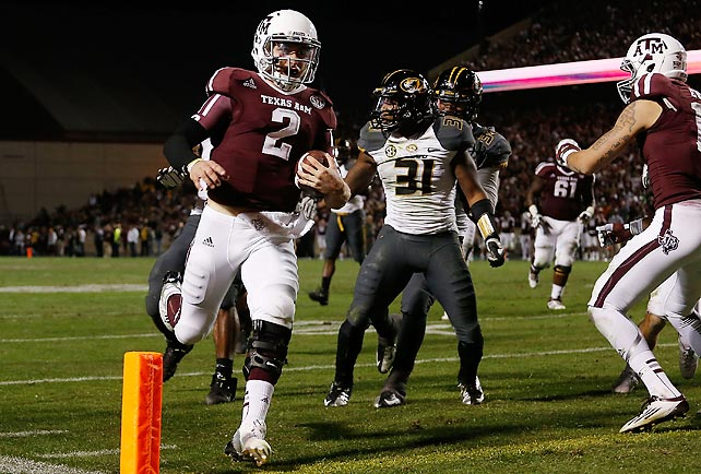 The Aggies may not be BCS bound, but Johnny Manziel (pictured) put himself in strong Heisman position with a five-touchdown day. The redshirt freshman threw for 372 yards and three touchdowns and rushed for 67 yards and two more scores. A&M finished the regular season 10-2 overall and 6-2 in SEC play; Missouri will not make a bowl after finishing 5-7 overall and 2-6 in its first season of SEC play.