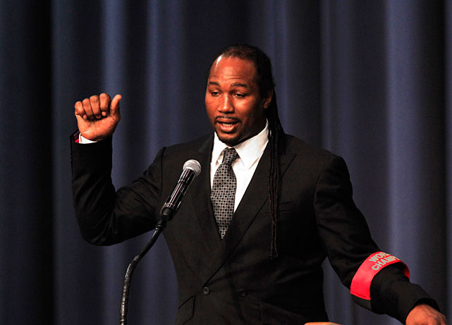Former heavyweight champion Lennox Lewis remembers Steward during Tuesday's three-hour service.